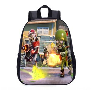rwBLQ Kindergarten schoolbag Plants vs Zombies cartoon Bag backpack small middle and large class children ultra light burden reduction backp