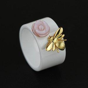 Anel Flor INATURE Natural Shell por Mulheres prata esterlina 925 Handmade Jewelry Nano Anéis cerâmicos D18111405