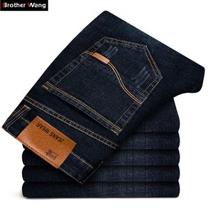 Brother Wang Brand 2020 New Men's Black Jeans Business Fashion Classic Style Elastic Slim Trousers Jeans Male 108 CX200727