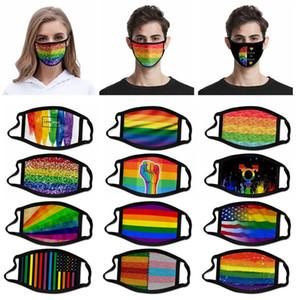 Fashion Printing rainbow Mask LGBT Dust-proof Design Mask Washable reusable outdoor Protective printed Mask FF19