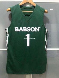 الجملة الرخيصة كلية بابسون قندس # 1 رجل لعبة كرة السلة جيرسي غرين تي شيرت سترة مخيط كرة السلة بالقميص الكربلائي
