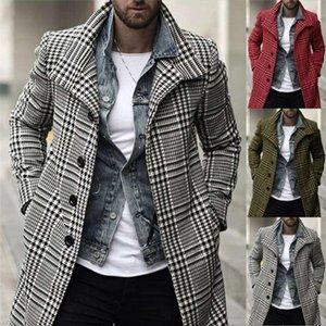 Trench Mens Plaid Manteaux d'hiver homme Lapel cou simple boutonnage Pocket Manteaux longs hommes High Fashion Plus Size loose Outerwears