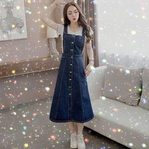QNPQYX Nueva mujeres Denim Jeans vestido atado con correa viste las mujeres más del tamaño otoño faldas largas vaqueros de las mujeres se visten con dropshipping correas Mujer