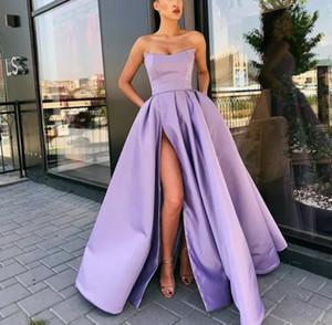 2020 strapless split evening dress, host women's dress everning dress