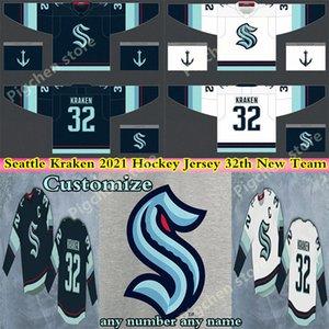 시애틀 크라켄 뉴저지 32 회 새로운 팀 하키 유니폼 2021 시즌 사용자 정의 남성 여성 청소년 100 % 자수 스티치 유니폼 셔츠 좋은 품질