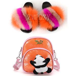 Симпатичный мультфильм Panda Рюкзак пушистая обувь Bling сумка Baby Girl Тапочки Fur Слайды плоские сандалии Детская обувь сумка Установить Плюшевые Слайды