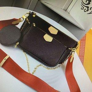 M44813 MULTI POCHETTE ZUBEHÖR Handtaschen Portemonnaie Damen Crossbody Beutel 3 Stück Sets Mono Canvas Echtes Leder Kette Schultertasche PCS