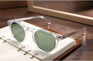 Hot-sale Vintage Gregory Peck OV5186 round sunglasses HD polarized UV400 lense 45-23-145 unisex lightweight imported pure-plank fullset case