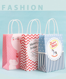50 sets small paper bag with handle shopping bag portable gift festival bag free shipping