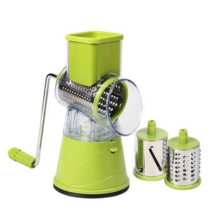 Vegetable Cutter Slicer Kitchen Accessories Multifunctional Round Mandoline Slicer Potato Cheese Kitchen Gadgets - Green