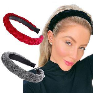 Bandas amplia brillante Tejido trenzado Hairbands de la venda del aro del pelo pelo de la manera del bisel del tocado de los accesorios del pelo de la joyería del partido de boda Mujeres