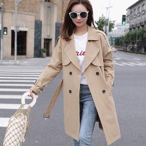 Sashes Oversize Çift Breasted Vintage Cloak Paltolar Windbreaker olan kadınlar Hendek 2020 Office Lady Casual Trençkot