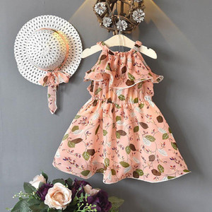 2020 Summer New chiffon floral girls dresses Bohemia kids dresses+hats 2pcs set fashion princess dress beach dress kids clothes