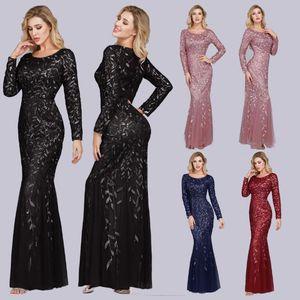 Women Evening Dresses Spring Mermaid O Neck Full Sleeve Lace Skinny Long Party Woman Dresses Vestido