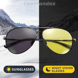 CoolPandas 2020 Pilot Photochromic Sonnenbrille Männer polarisierten Fahrtag Nachtsicht Chamäleon Brille Speicher Metallrahmen Oculos