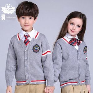 Py5Fl Cotton cardigan sweater thickened all-match for middle and primary children's knitted Cardigan school uniform children's shirt school
