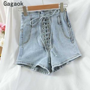 Gagaok Streetwear Donne denim brevi 2020 Estate Nuovo Solid Alta Zipper Bandage casuale sottile di moda sexy shorts coreano selvatici
