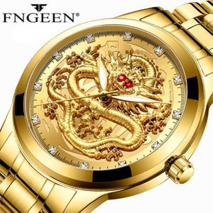 FNGEEN Top Luxuxgold Fashion Series Männer mechanische Uhr 3D-CNC-Leben Wasserdicht Drachen Gesicht volle feste MenWatches Armbanduhr