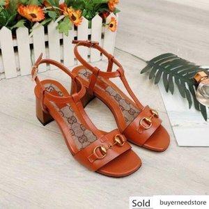 Lettre boucle en métal haute Chaussures à talon en cuir véritable femme sandales talons épais 35-42