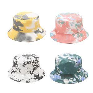 5 Farben Sommer-Tie-Färben Bucket Hat Fisherman Cap Frauen Mädchen breiter Rand-Strand Cap Gradient Universal Outdoor-Reisen Sun Strand Hat M2331