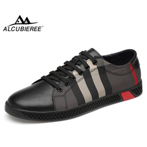 ALCUBIEREE 2020 Spring Mens Casual Shoes Genuine Leather Skateboarding Shoes Man Luxury Lace-up Sneakers Men Walking Footwear