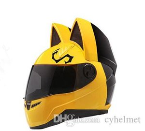 NITRINOS moto casco integrale con orecchie di gatto di colore giallo di personalità del gatto Fashion Helmet casco da moto taglia M / L / XL / XXL