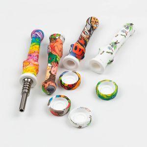 Silicone Nector Collector Kit Mini 14 milímetros Concentrado Smoke tubos com ponta de titânio palha petróleo Dab Rigs