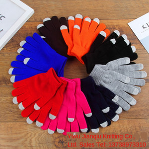 New monochrome knitted touch screen and women's finger gloves outdoor antifreeze fashion fashion winter warm gloves