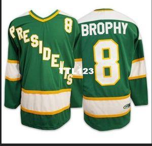 Real dos homens reais do bordado completa # 8 BROPHY SlapShot filme Hyannisport PRESIDENTES Hockey Jersey ou personalizado qualquer nome ou número de Jersey