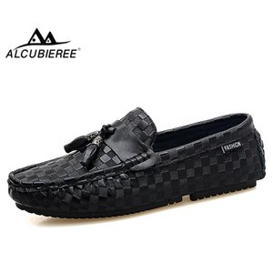ALCUBIEREE Men Casual Moccasins Tassel Loafers Fashion Embossing Boat Shoes Male Slip-On Breathable Driving Shoes Men Footwear
