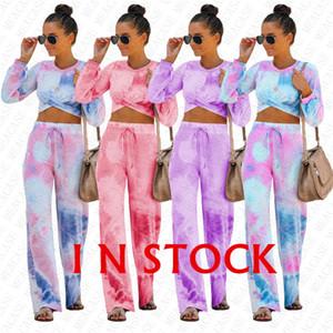 Дизайнер Tie-краситель Printed Женщины Gradient Tracksuit Осень Crop Cross рубашка Tops + свободные брюки двухкусочной Моды Нижнее Спортивный костюм D72711