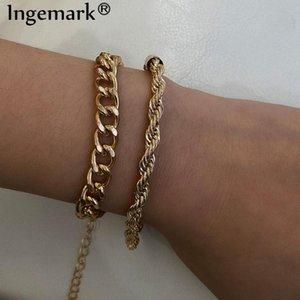 Ingemark Charm Vintage Twisted Chain Bracelets Set for Women Armband Punk High Quality Boho Snake Link Bracelet Fashion Jewelry