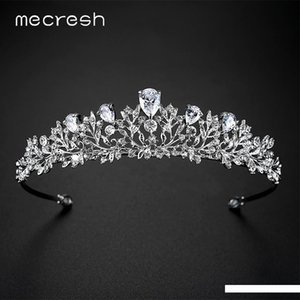 Mecresh Vivid Leaf Plant CZ Crown and Tiara For Women 2017 European Fashion Crystal Wedding Hair Accessories Jewelry Gift MHG126