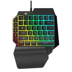 Freier Wolf K15 35 Keys Einhandtastatur Mechanische Handgefühl Handy-Spiel-Tastatur-Hintergrundbeleuchtung 1.5M bewegliche wasserdicht