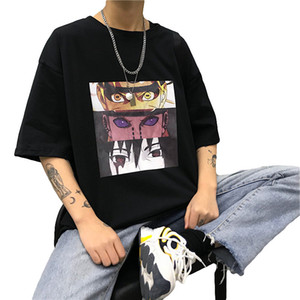 Мужские Наруто Прохладный футболки Новая мода Мужская японская аниме тройники Streetwear лето плюс размер с коротким рукавом Hip Hop Топы
