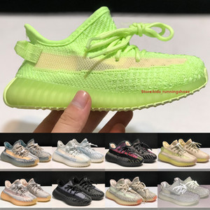 Top V2 Kids Running Shoes 2020 Designer Boys Girls Glow Reflective Flax Synth Oreo Citrin Cloud White Toddler Outdoor Sneakers Size 24-35