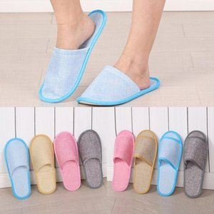Disposable Slippers Hotel SPA Home Anti-slip Guest Slippers Cotton Linen Comfortable Breathable Men Women One-time Slipper 4 Color
