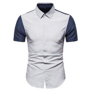 Designer Polka Dot Camicie Casual Pattern Camicie maniche corte con pannelli di colore Shirt Uomo Abbigliamento Moda Uomo