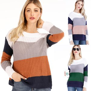 Fashion New pattern O-Neck stripe women sweater batwing sleeve loose solid color soft warm sweaters stripe patchwork sweatshirt pullover