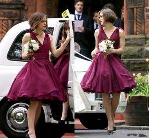 Purple Bridesmaid Dresses Wedding Guest Dress Knee Length V-neck Burgundy Short Beach Chiffon Maid Of Honor Dresses B88