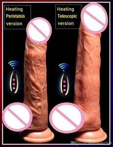 여성을위한 무선 딜도 현실적인 딜도 진동기 전기 난방 진동 큰 거대한 음경 G 스팟 섹스 토이, USB 충전