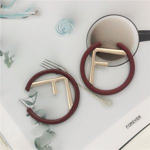Luxury designer trade jewelry new fashion personality exaggerated big earrings letter F cold wind circle earrings jewelries3