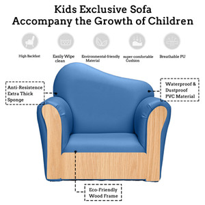 WACO Kids Sofa, Small Size Bent Back with Pedal Children Princess Single Sofa, Game Reading Dinning Room Comfortable Chair Sofa Blue