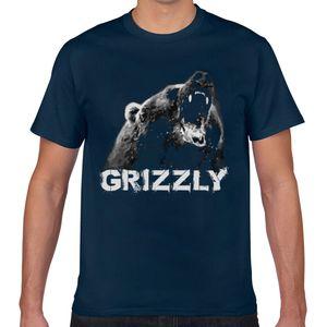 Tops Camiseta Homens Grizzly Bear Humor algodão branco masculino Camiseta