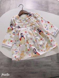 Girls cartoon printed dress children Bows long sleeve dress 2020 Fall new kids designer clothes A3552