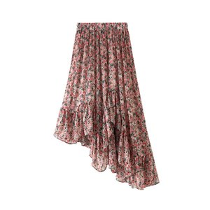 Irregular Skirt Women Pink Summer Chiffon Midi Skirt Kawaii Lady Korean Asymmetrical Floral Pleated Skirts High Waist