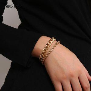 IngeSight.Z 2Pcs Lot Curb Cuban Chunky Thick Twisted Bracelets Men Punk Hip Hop Gold Color Bracelets Bangles for Women Jewelry