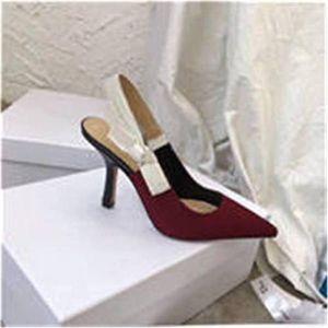 Original LogoFashion High heeled sandals Gladiator Leather Pointed shoes sexy Designer luxury heel High heeled shoes Letter woman shoes