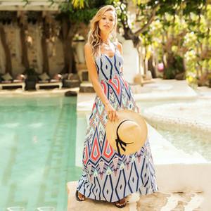 2020 Xia senhoras vestido Posimi Segundo Sandy Beach em férias Camisole vento Revelar Voltar calaza nº de impressão Longuette