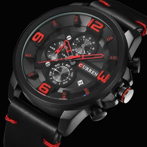 CURREN New Chronograph Black Men Watches Luxury Fashion Sports Male Wrist Watch Leather Strap Calendar Casual Business Clock T200723